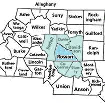 Rowan and surrounding counties in North Carolina